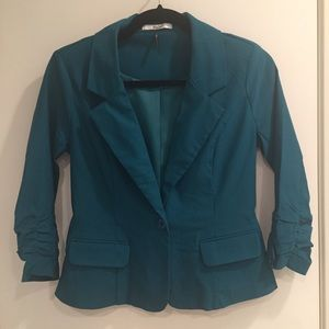 Teal cropped blazer